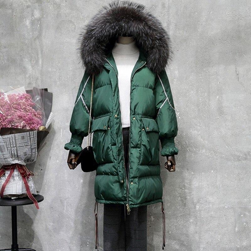 2019 Женское зимнее пальто куртка женская теплая Толстая парка с лисьим меховым воротником Верхняя одежда Мода Роскошный большой размер длин