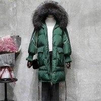 2019 Women winter coat jacket women warm thick parka fox fur collar outwear fashion luxury big size Long Slim Solid SnowClassic