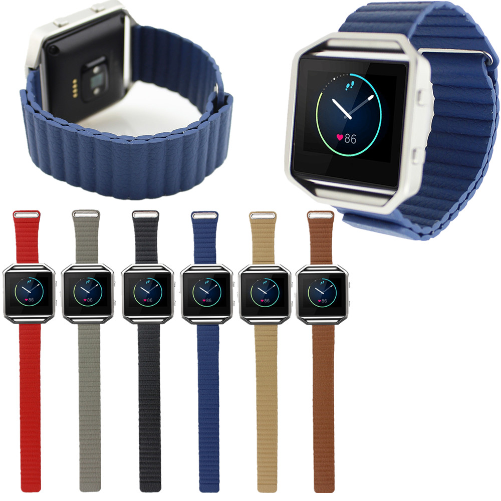 100% Brand New Magnetic closure Pop Leather Loop Watchband Strap for Fitbit Blaze Activity Tracker SmartWatch