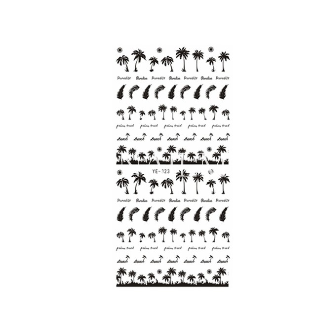 Black Coconut Tree Nail Art Sticker