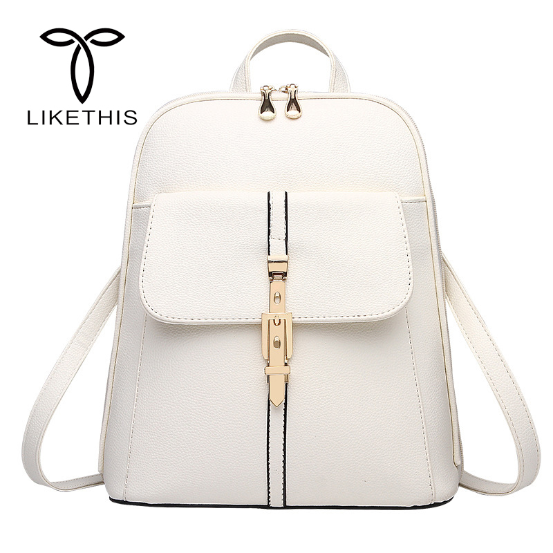 Fashion Women Backpacks PU Leather Solid Color Backpack School Bags College Simple Design Casual Daypacks For Women Backpacks fashion women s backpack with color block and stripe design