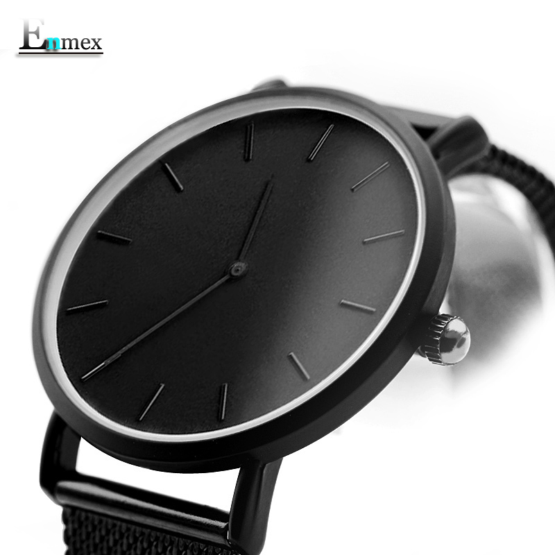 Enmex cool design men wristwatch stainless steel simple stylish Mystiqu two hands simple brief face quartz clock fashion watch 2017 gift enmex creative simple design brief face with a red pointer steel band water prof young and fashion quartz watch