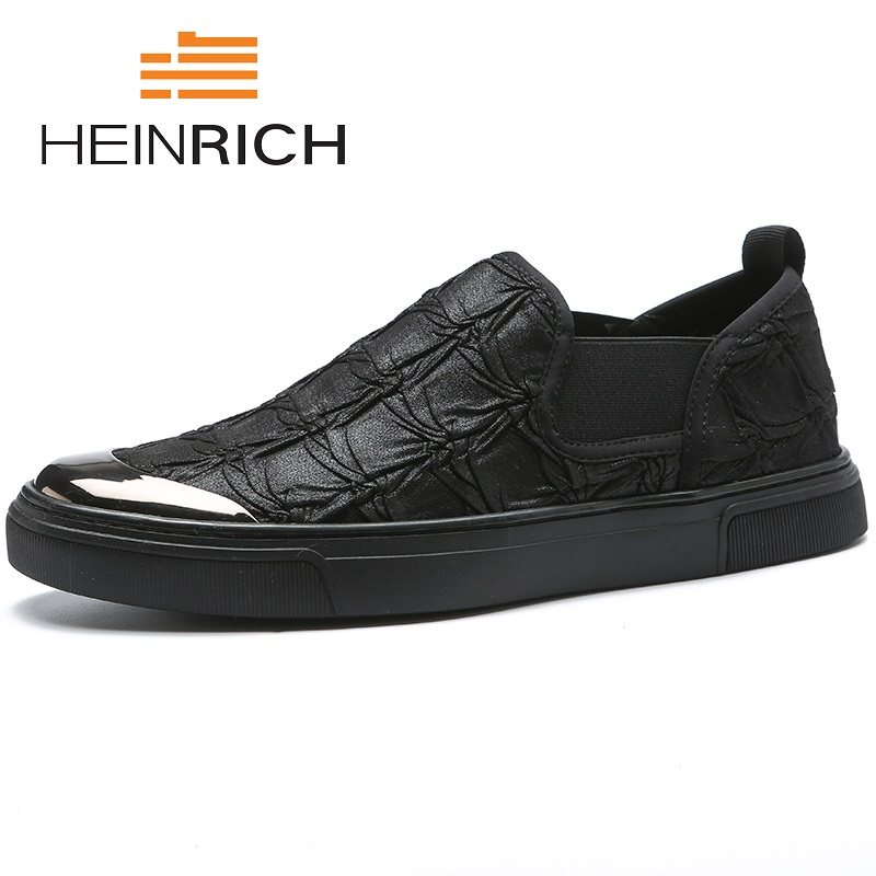 HEINRICH New Brand Fashion Spring/Autumn Style Soft Men Shoes 2018 High Quality Casual Men Black Personality Flats ShoesHEINRICH New Brand Fashion Spring/Autumn Style Soft Men Shoes 2018 High Quality Casual Men Black Personality Flats Shoes
