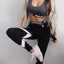 2018 new fashion black white triangle print high waist leggings bodybuilding ladies sportswear casual fitness pants