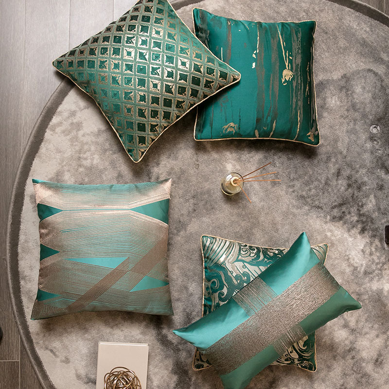Luxurious Super Exquisite Embroidered Cushion Cover Geometry Spray Green Pillow Cover Chair Sofa Hotel Decorative Pillowcase