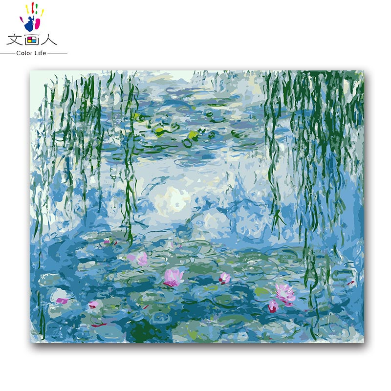 Coloring By Numbers Monet Water Lily Digital Oil Painting By Numbers With Kits Lotus Weeping Willow Impression Canvas Oil Paint