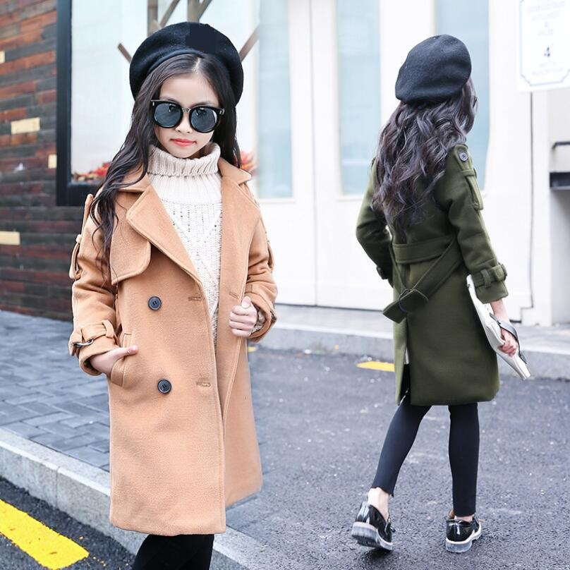 2019 Winter Jacket Baby Toddler Teen Wool Coat For Girls Kids Long Turn-down Collar Double-breasted Children's Outerwear JW3844A