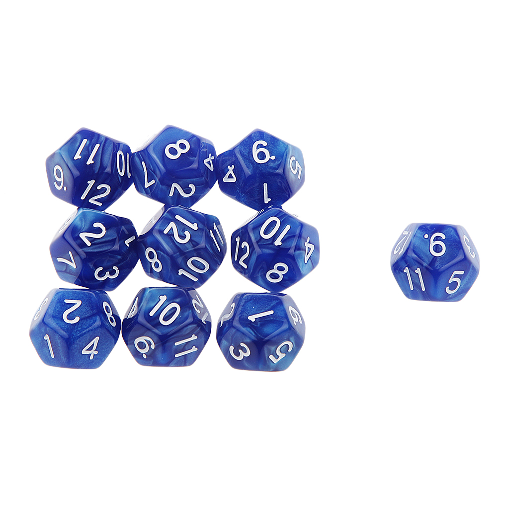 Pack of 10pcs Pearl Blue D12 Twelve Sided Game Dice D&D TRPG Games Party Supplies
