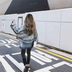 Kobiety rękaw nietoperz pomponem krótkie luźne zadziorów kurtka dżinsowa kobiet moda nowy boyfrieds znosić 2019 jesień Streetwear jean płaszcz 3