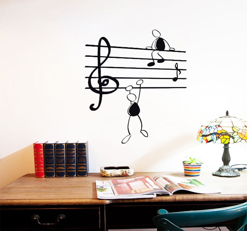 D433 Wall Sticker Music Notes Funny Guys for Living Room Vinyl Stickers Instrumen art image