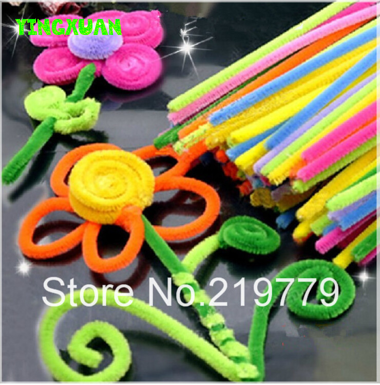 Happyxuan 100pcs pack color chenille stems pipe cleaners for Hand craft in waste material
