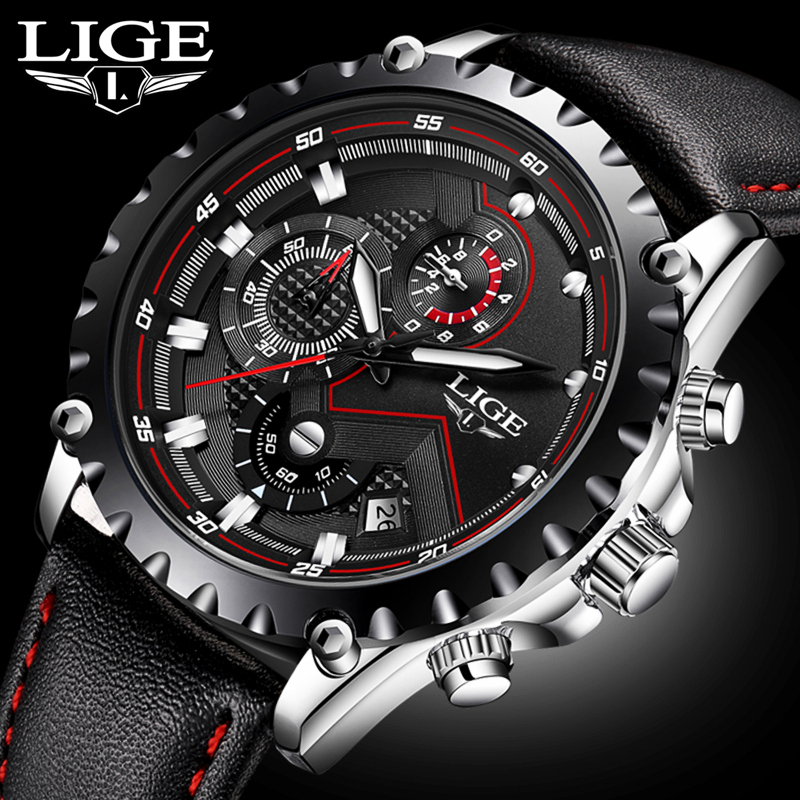 Buy mens watches top brand luxury lige quartz watch men sport chronograph for Lige watches
