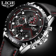 Mens Montres Haut Marque De Luxe LIGE Quartz Montre Hommes Sport Chronographe Militaire Bracelet En Cuir Hommes Montres relogio masculino