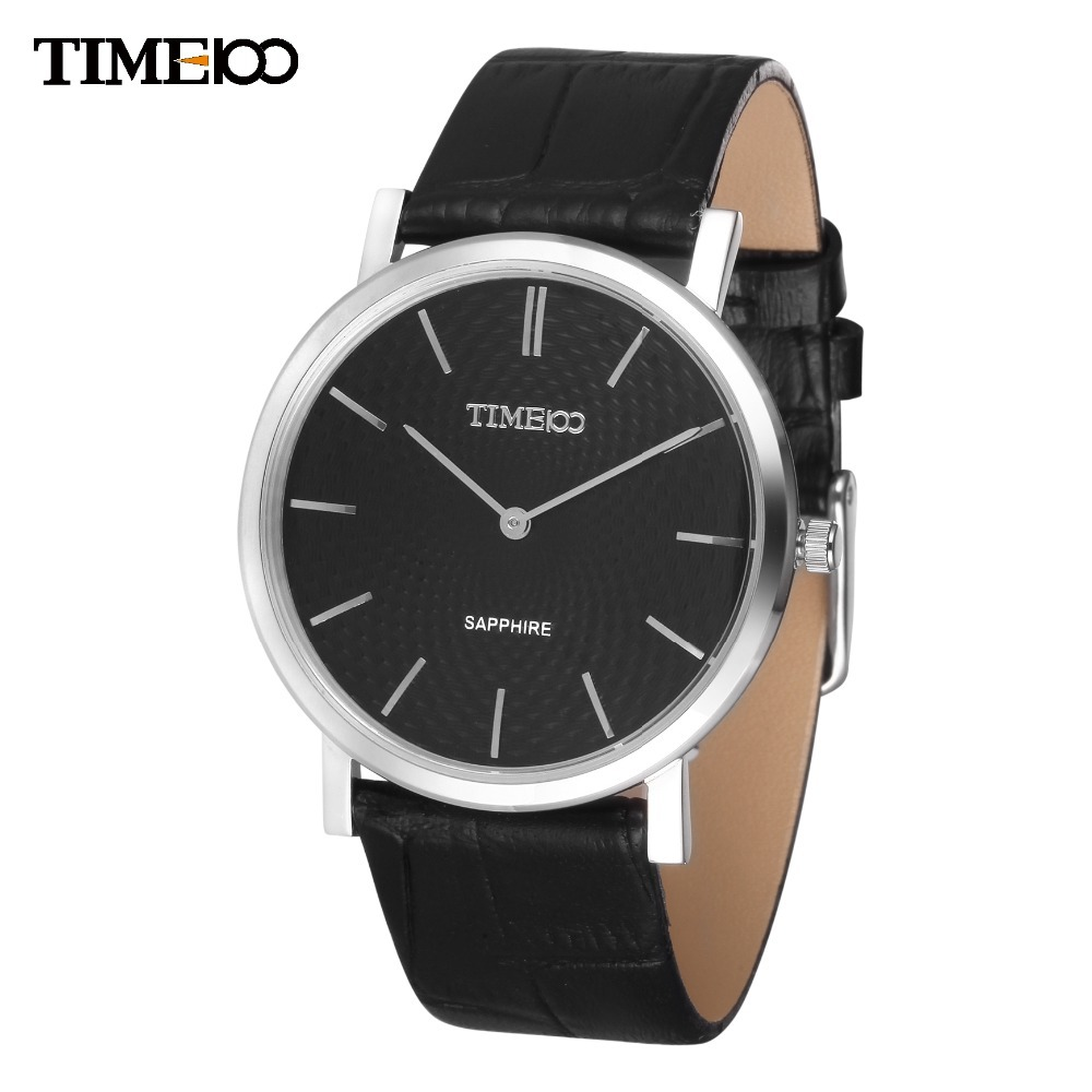 Time100 Women watch Black Leather Strap Sapphire Ultra thin Classic Business Big Slim Dial Quartz Wirst Watches W80078G.01A holuns watch women sapphire glass white dial quartz waterproof multicolor red leather strap watch