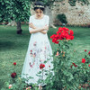 AIGYPTOS JJA 2017 New Spring Summer Women Vintage Elegant Slim Floral Rose Print Lace Embroidery Organza