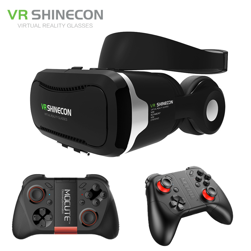 Shinecon VR Headset 4.0 Virtual Reality Phone Stereo 3D Glasses Google Cardboard BOX for 3.5-5.5' Smartphone + Mocute Gamepad vr glasses 3d glasses vr headset box virtual joystick for phone virtual reality glasses for iphone google cardboard galaxy s9