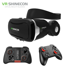 Shinecon vr vr headset 4.0 stereo telefone de realidade virtual óculos 3d box + mic para 3.5-5.5 'mobile smartphone + mocute gamepad
