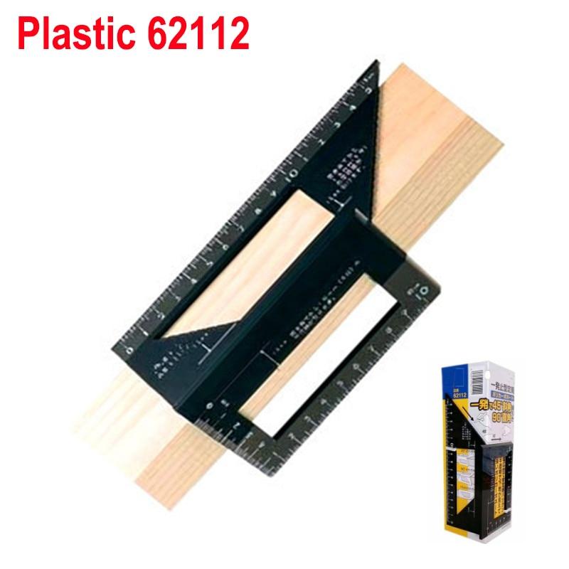 Алюминиевый сплав 45 градусов 90 градусов деревообрабатывающий Многофункциональный квадратный Измеритель угла транспортир над линейкой - Цвет: plastic 62112