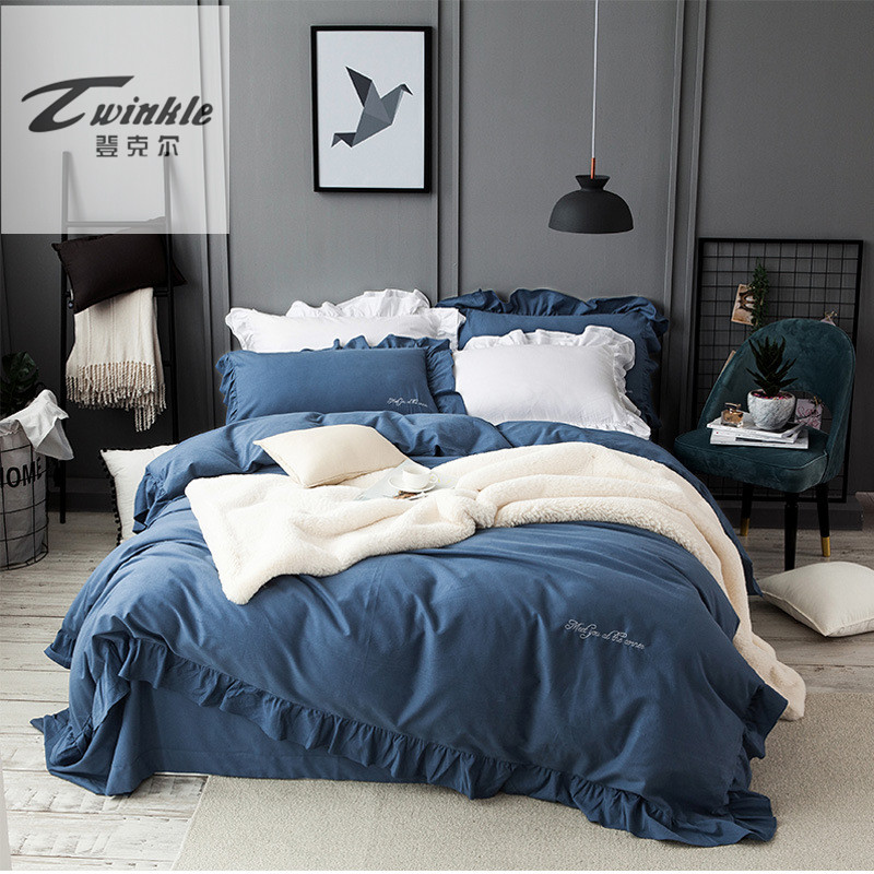 4Pcs 100% Cotton Grey Blue Pink Luxury Bedding Sets/Bedclothes King Queen size Duvet Cover Bed Sheet Linens set Pillowcases