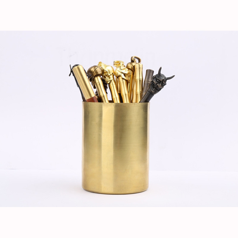 High Quality EDC Tool Pen Container Brass Pen Cylindrical Vase Drawing Process Copper Case Office Supplies  Stationery 210 g