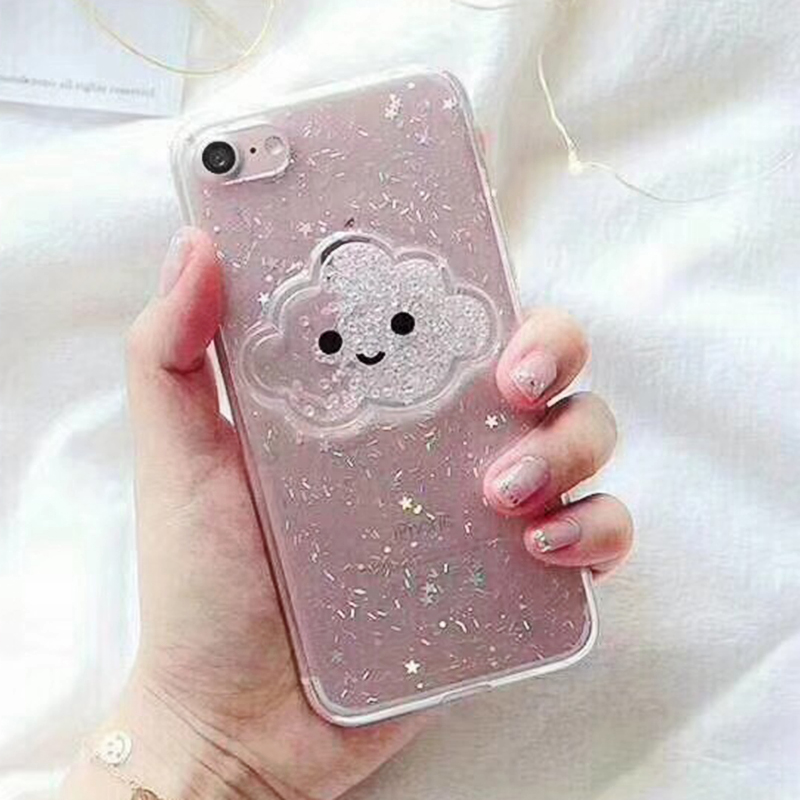Cute Glitter Powder Smile Face Clouds Mobile Phone Case For iPhone X Soft TPU Dynamic Beads Back Cover For iphone 6 6s 7 8 Plus Case (1)