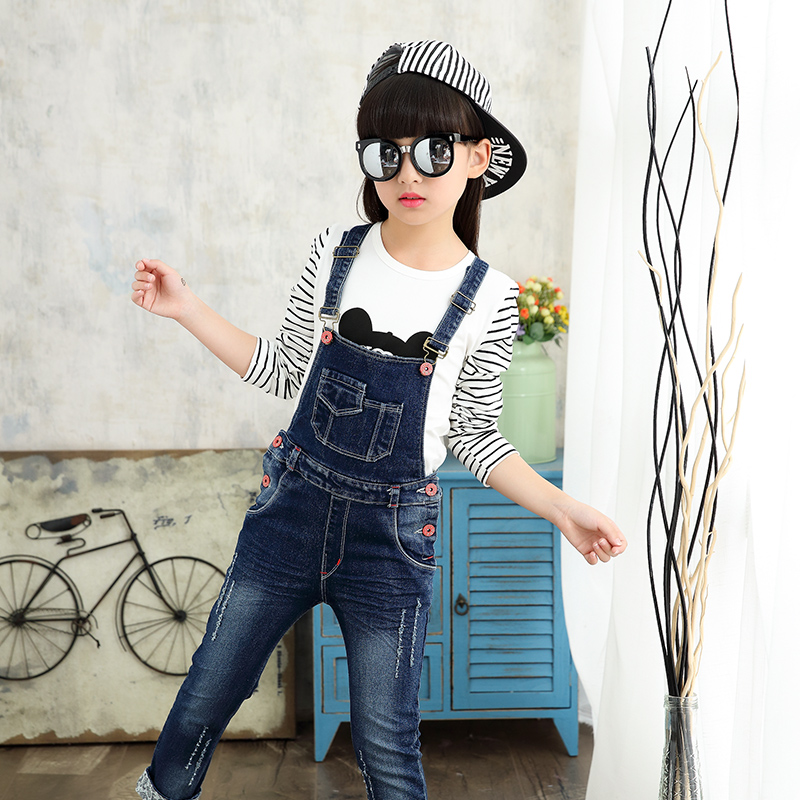 2f37e7568c7 Girls Jeans Pants Autumn Kids Denim Overalls for Girls Jumpsuit Children  Trousers Girls Suspenders Pants 4. sku  32824083438