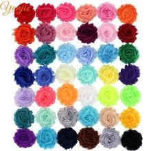 """120 шт./лот 2,"""" шикарные потрепанные шифоновые цветы для девочек и детей аксессуары для волос потертые цветы для банты для волос, ободок"""