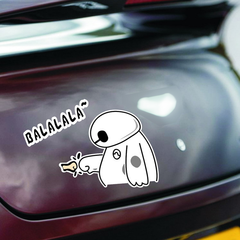 Car sticker balalala baymax big hero 6 personalized sticker reflective vinyl family car decals jdm window reflective in car stickers from automobiles