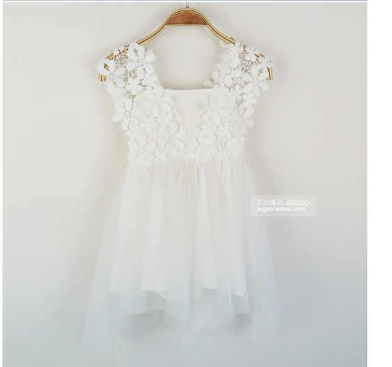 2018 בנות לבן שמלת קיץ שמלת ערב תחרה סקסית סרוגה גזה נסיכת שמלת Fhipping חינם