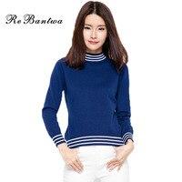 Rebantwa Striped Cashmere Sweater Women Winter New Cashmere Pullovers Turtleneck Christmas Sweaters Fashion Knitwear Jumper 2XL