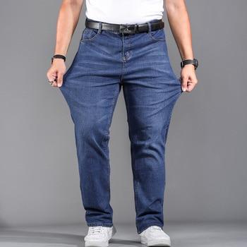 High Quality Stretch Plus Big Size 29 - 44 46 48 90% Cotton Straight Denim Jeans Men Famous Brand 2019 Spring 1