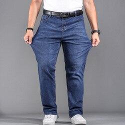 Высококачественные Стрейчевые джинсы больших размеров 29-44, 46, 48, 90% хлопок, прямые джинсы для мужчин, известный бренд, весна 2019