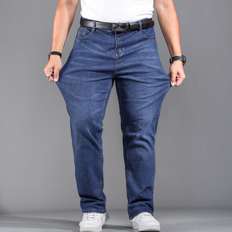 Alta qualidade estiramento mais tamanho grande 29-44 46 48 90% algodão em linha reta denim jeans men famosa marca 2019 primavera