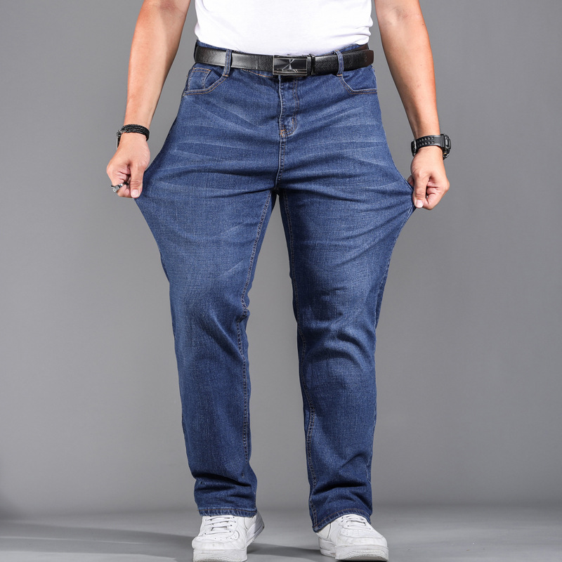High Quality Stretch Plus Big Size 29 - 44 46 48 90% Cotton Straight Denim Jeans Men Famous Brand 2019 Spring