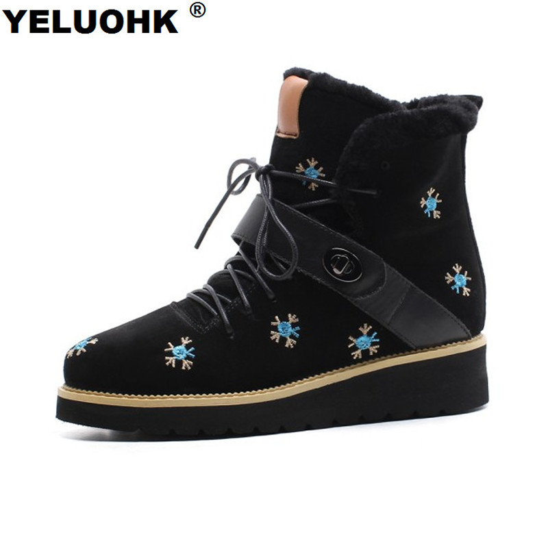 Brand New Flower Winter Women Boots Flat Shoes Warm Snow Boots Women Ankle Fur Winter Shoes Woman Winter Platform Flat Boots 2016 rhinestone sheepskin women snow boots with fur flat platform ankle winter boots ladies australia boots bottine femme botas