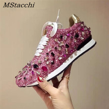 MStacchi New Luxury Rhinestones Sneakers Lace Up Flat Shoes Woman Bling Mixed Color Crystal Paillette Cozy Women Casual Shoes