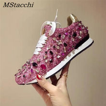 MStacchi New Luxury Rhinestones Sneakers Lace Up Flat Shoes Woman Bling Mixed Color Crystal Paillette Cozy Women Casual Shoes(China)