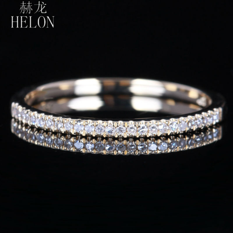 HELON Solid 10K Yellow Gold Pave Natural Diamond Half Eternity Ring Engagement Wedding Band Party Fine