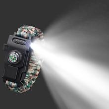 Выживания Паракорд 4 мм браслет светодиодный многофункциональный браслет для выживания на природе аварийный Кемпинг Пешие Прогулки спасательная Ручная Веревка