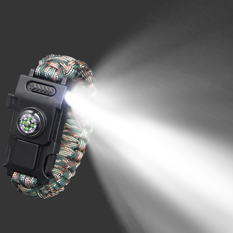 Outdoor First Aid Kits Survival Paracord 4mm Bracelet LED Light Multi-function Bracelet Emergency Camping Hiking Tools
