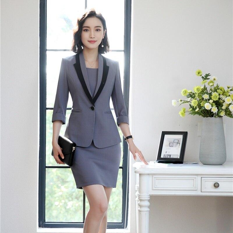 Uniformes Chaqueta gris Señoras Y De Moda Estilos Blazer Vestido Grey Para blanco Mujeres Trajes Negocios Conjuntos Trabajo Ropa Negro 6fPpPndT