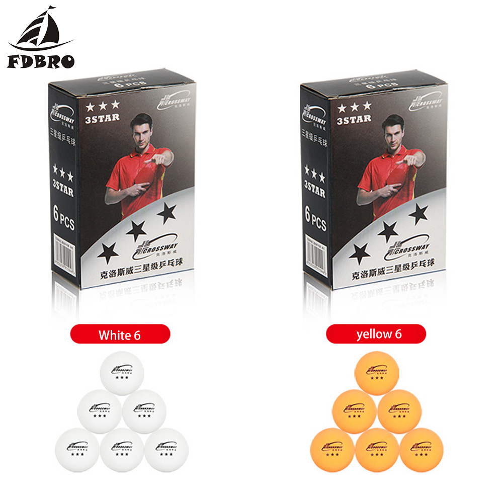 FDBRO Professional Table Tennis Ball Three-star Level For Ping Pong 6pcs Packing Competition Training Ping-pong Set Orange Balls