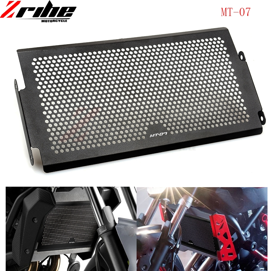 Black Motorcycle accessories Engine Radiator Bezel Grille Protector Grille Guard Cover For Yamaha MT07 MT-07 mt07 2014 2015 2016 2017 new black motorcycle radiator grille guard cover protector for yamaha mt07 mt 07 mt 07 2014 2015 2016 free shipping