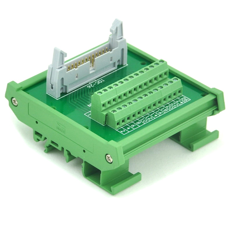 IDC-26 DIN Rail Mounted Interface Module, Breakout Board, Terminal Block.