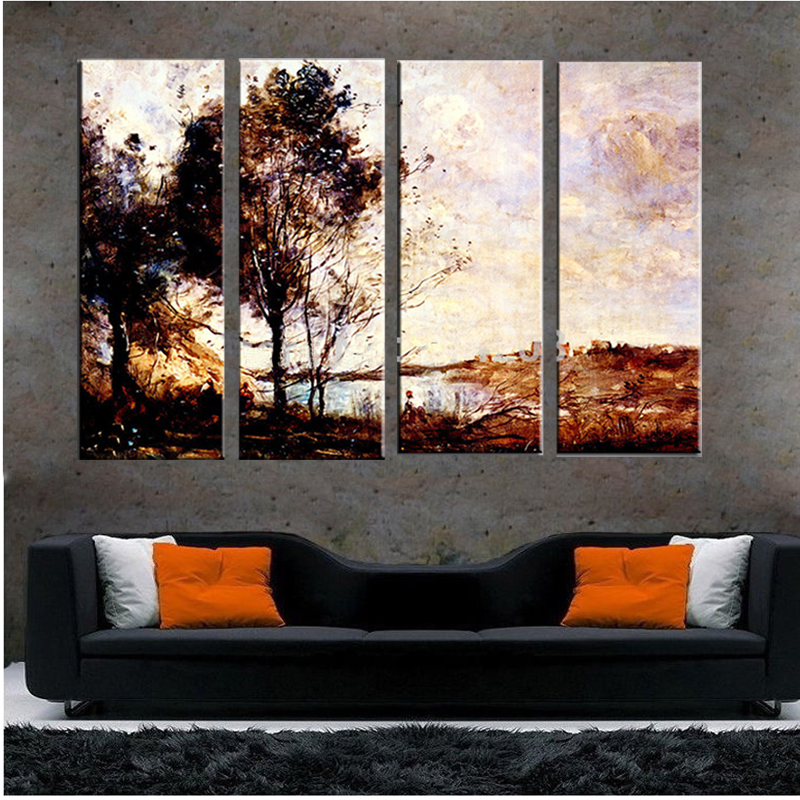4 Piece Art Set Aesthetic Landscape Handmade Hotel Dining Room Decor Wall Work Oil Painting