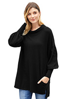 2018 New Arrival Winter Women's Casual Black Army Green Slope Side Snuggles Tunic Sweater LGY27857