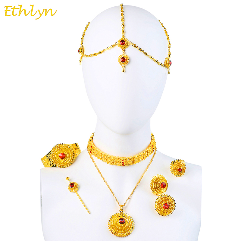 Ethlyn Luxury Ethiopian Eritrean Traditional Jewelry Choker Sets Gold Color Stone Wedding Jewelry Sets Women S097
