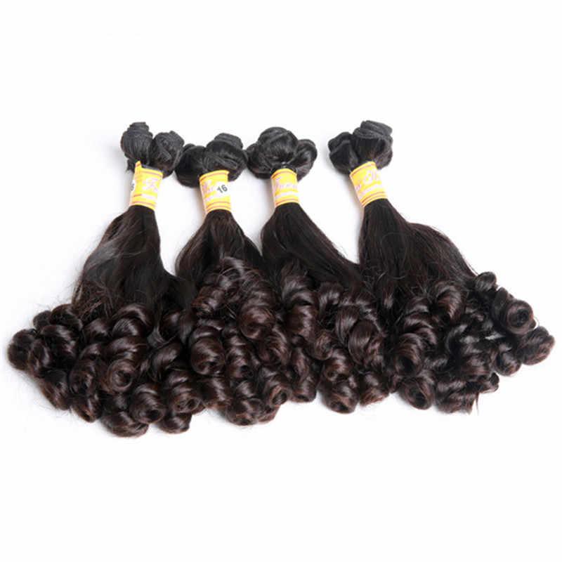 """Mayflower двойной обращается Фунми пружина для волос curl 1/2/3/4 Связки Смешанная Длина 8-18 """"Natural черные волосы Remy полный конец без узла"""
