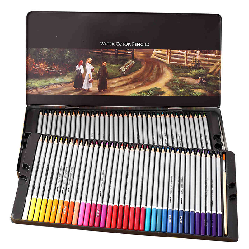 Deli 24/36/48/72 Colors Water Color Pencil Set Tin/Paper Box Soluble Colored Pencil For Drawing Painting Sketch School Supplies