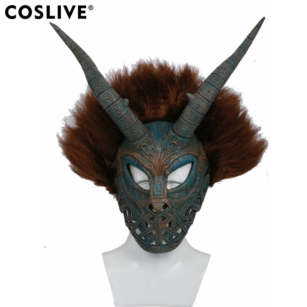Coslive Erik Killmonger Cosplay Masque Casque Noir Panthère Film Cosplay Brun Cyan Masque Avec Perruque Costume Accessoires Prop